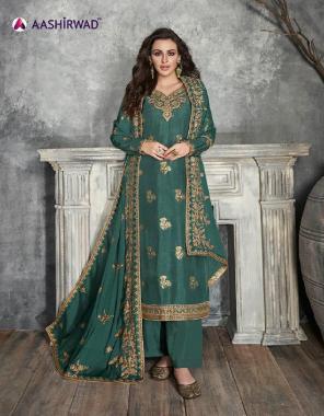 green top - pure dolla silk | bottom + inner - santoon | dupatta - chinon  fabric embroidery work festive
