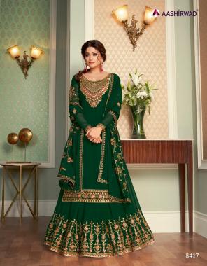 green top - georgette | inner - santoon | skirt - georgette free size stitch | dupatta - georgette  fabric embroidery work party wear
