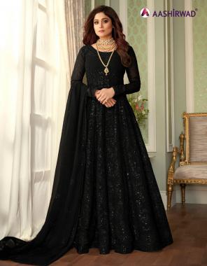 black  top - georgette | bottom + inner - santoon | dupatta -georgette fabric embroidery work wedding