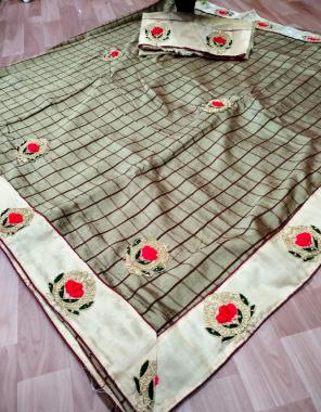 mehndi  saree - pure vichitra silk   blouse - banglori silk fabric embroidery diamond  work running