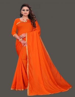 orange georgette  fabric plain border work work wedding