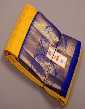 yellow kanchipuram silk fabric weaving jacqaurd  work wedding