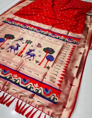 red art weaving paithani silk fabric weaving jacqaurd  work festive