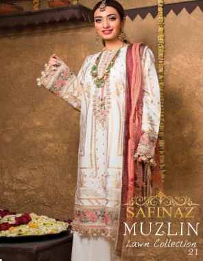 white top -pure cambric cotton with chiken embroidery work   bottom - semi lawn   dupatta - 2 des net   3 des digital print fabric embroidery digital print work ethnic