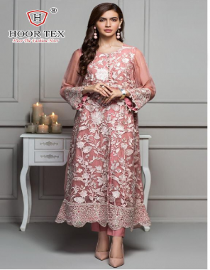 light pink top - heavy georgette   bottom + inner -santoon   dupatta - nazmin   size -56(8xl)  type -semi stitch fabric embroidery  work festive