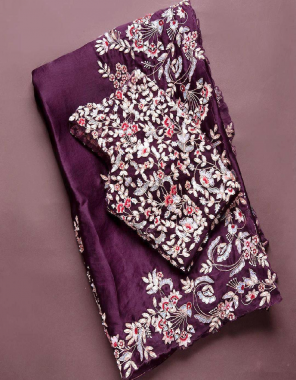 wine mashroom silk fabric embroidery work casual