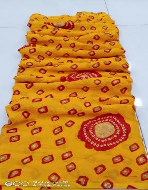 yellow georgette  fabric leheriya work wedding