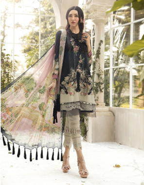 black top - pure heavy qaulity cotton digital print and patches | bottom - pure heavy lawn cotton | dupatta - chiffon digital print fabric digital print embroidery work party wear