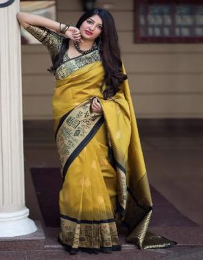 yellow black soft lichi silk fabric weaving jacqaurd  work ethnic
