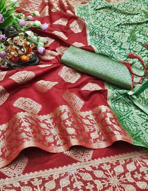 red green linen cotton fabric weaving  work wedding