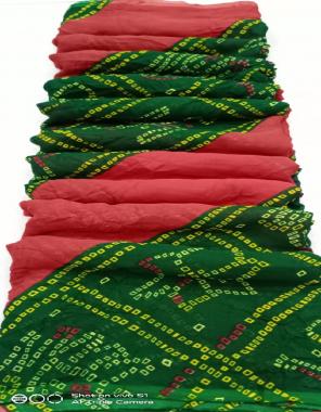 green pink georgette fabric printed work wedding