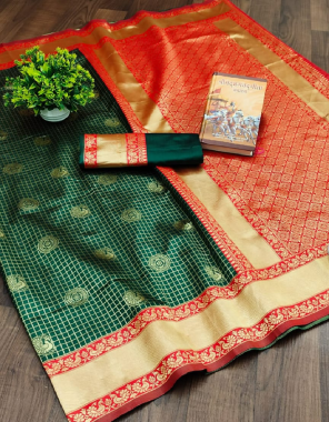 green red soft kanjivaram lichi silk fabric weaving jacqaurd  work wedding