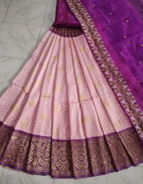 light pink lehenga - kanjivaram silk 3.20m | blouse - banglori satin 1m | voni -organza 2.20m fabric embroidery work party wear
