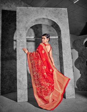 red silk fabric weaving jacqaurd  work running