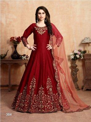 dark red art silk fabric embroidery work wedding