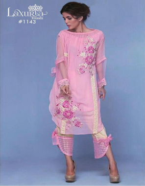 pink top - fox georgette | inner -santoon | pant - cotton strachble  fabric embroidery fancy patch work work party wear