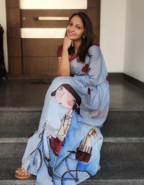 sky grey saree - heavy japan satin silk   blouse - banglori silk fabric printed work ethnic