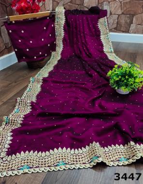 wine saree -rangoli silk | blouse - runnin fabric embroidery stone  work wedding