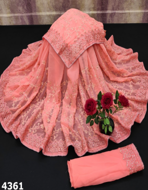 pink saree -chiffon   blouse - banglori silk fabric embroidery stone  work ethnic