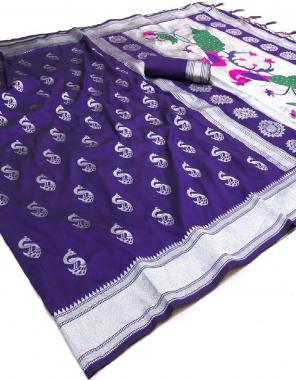 blue soft lichi silk fabric weaving jacqaurd  work wedding