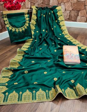 green saree - pure dola silk | blouse -banglori silk fabric embroidery work wedding