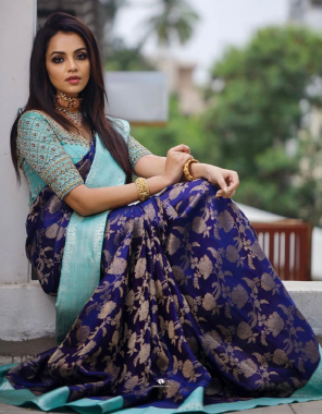sky blue  saree - banarasi silk | blouse -embroidery seqeunce work  fabric embroidery weaving jcaqaurd  work ethnic