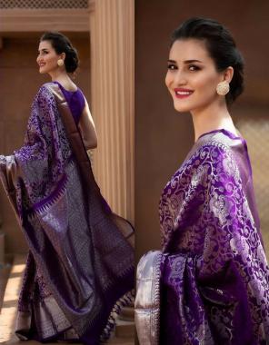 purple soft lichi silk fabric weaving jacqaurd  work wedding