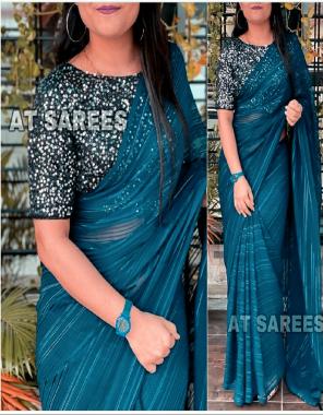 rama blue saree - satin chiffon   blouse - heavy velvet with seqeunce work fabric plain work wedding