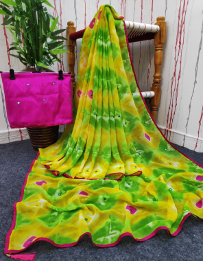 yellow parrot georgette  fabric printed work running