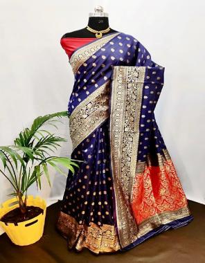 blue soft banarasi silk fabric weaving jacqaurd  work wedding