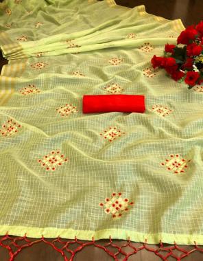parrot saree - pure soft linen | blouse -banglori silk fabric embroidery work wedding