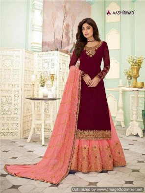 maroon georgette fabric embroidery work festive