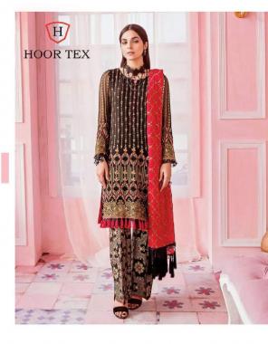 black red top - georgette |bottom + inner -santoon | dupatta - nazmin |size -54 (7xl) | type -semi stitch fabric embroidery work wedding