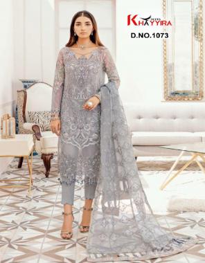grey top - butterfly net heavy embroidery  bottom + inner -santoon silk   dupatta - butterfly net embroidery fabric embroidery work wedding