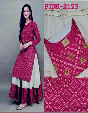 pink kurti - pure rayon badhani print length - 43 | skirt - rayon flair 2.10m length - 40 fabric bhadhani print  work wedding