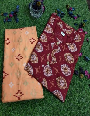marron rayon fabric printed work daliy wear