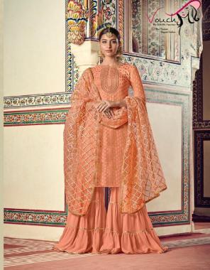 orange top - georgette net | bottom -georgette | inner -santoon | dupatta -nazmin net fabric embroidery work wedding