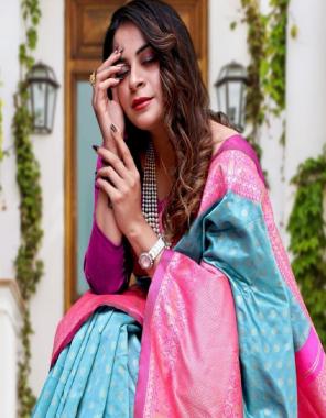 sky pink pure lichi silk fabric jacqaurd weaving  work party wear