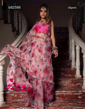 pink saree - organza print |blouse - banglori silk fabric digital print work party wear