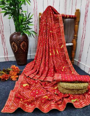 red georgette silk fabric bhadhani print work casual