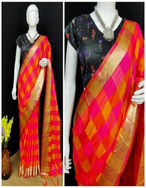 orange pure soft silk fabric checks work party wear