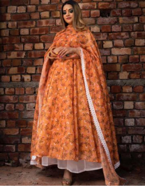 orange top - georgette with digital printed |inner - santoon |bottom -heavy slub cotton un stitch | dupatta - georgette  fabric printed work wedding