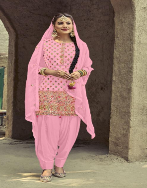 pink top - heavy faux georgette with embroidery seqeunce work  bottom-heavy santoon 2.75m  inner - santoon  dupatta -heavy nazmin chiffon  top length -max upto42  top size -max upto 59 -63   type - semi stitch fabric embroidery seqeunce work work ethnic