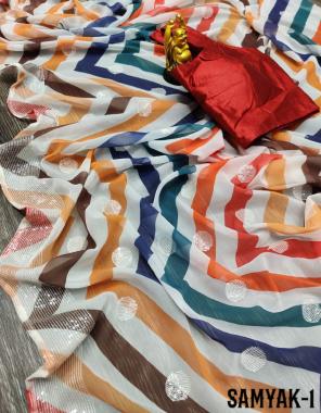white saree -premium georgette  blouse - banglori silk (stitch blouse free size) fabric leriya digital print seqeunce work wedding