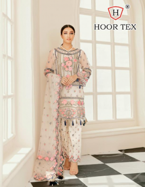 white saree - heavy georgette   bottom + inner - santoon   dupatta - net   size -56 inch (8xl)   type -semi stitch fabric embroidery work casual