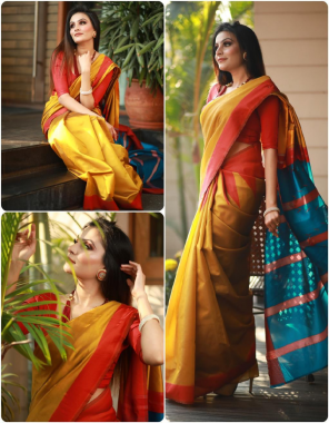 yellow red sky soft lichi silk fabric weaving jacqaurd  work wedding