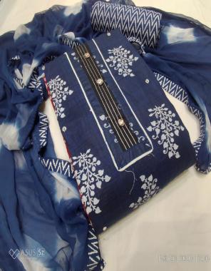 blue top - cotton print | bottom -cotton print |dupatta -nazmin print fabric printed work wedding
