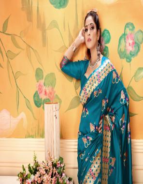 rama saree -banarasi weaving lichi silk with rich body work | blouse- plain blen cotton fabric weaving jacqaurd  work wedding