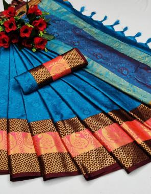 sky  heavy kashmira cotton silk fabric weaving embossed look work wedding