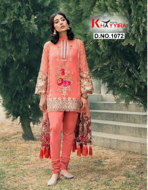 orange top - georgette heavy embroidery   bottom + inner - santoon silk   dupatta - net heavy embroidery fabric embroidery work ethnic